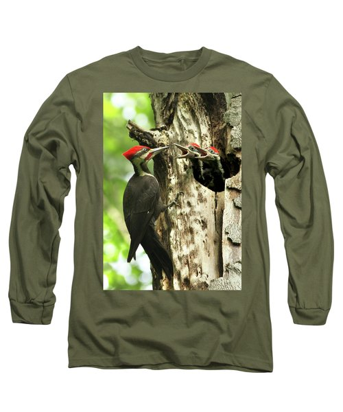 Male Pileated Woodpecker At Nest Long Sleeve T-Shirt by Mircea Costina Photography