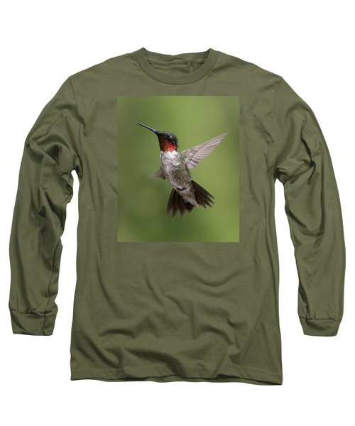 Male Ruby Throated Hummingbird Long Sleeve T-Shirt by David Lester