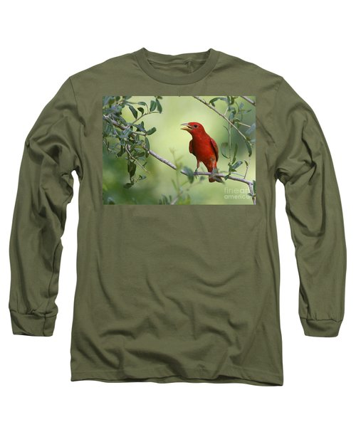 Male Summer Tanager Long Sleeve T-Shirt by Myrna Bradshaw