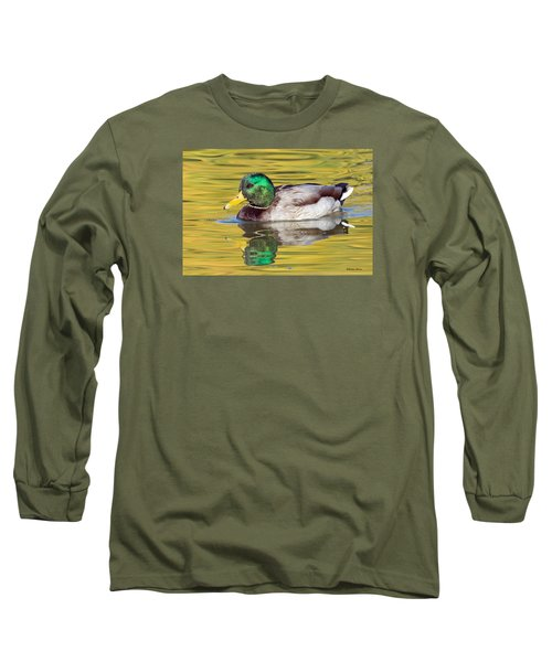 Mallard Drake On Golden Pond Long Sleeve T-Shirt by Stephen  Johnson