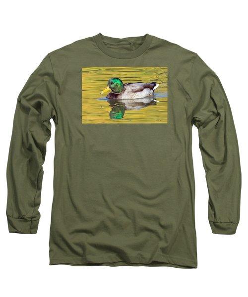 Mallard Drake On Golden Pond Long Sleeve T-Shirt