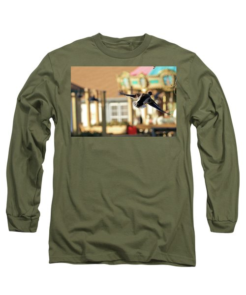 Mallard Duck And Carousel Long Sleeve T-Shirt by Geraldine Scull