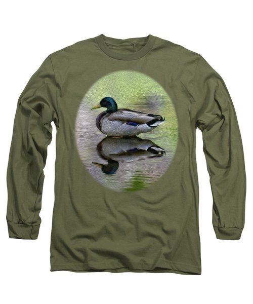 Long Sleeve T-Shirt featuring the photograph Mallard In Mountain Water by Mark Myhaver