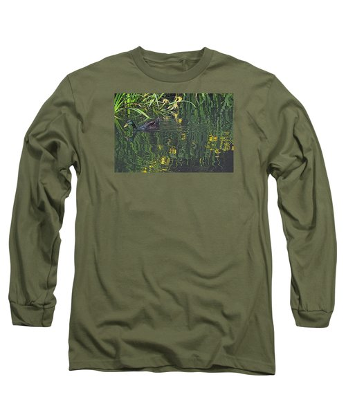Long Sleeve T-Shirt featuring the photograph Mallard In The Marsh by Suzy Piatt