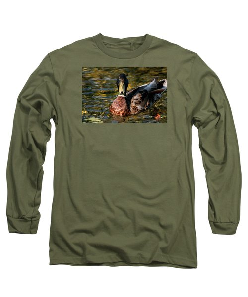 Mallard Portrait Front View Long Sleeve T-Shirt