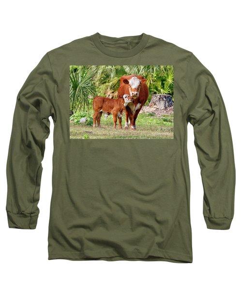 Mama Cow Keeping Baby Close Long Sleeve T-Shirt