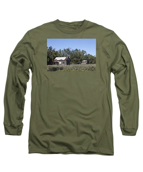 Manning Cotton Field With Barns Long Sleeve T-Shirt by Suzanne Gaff