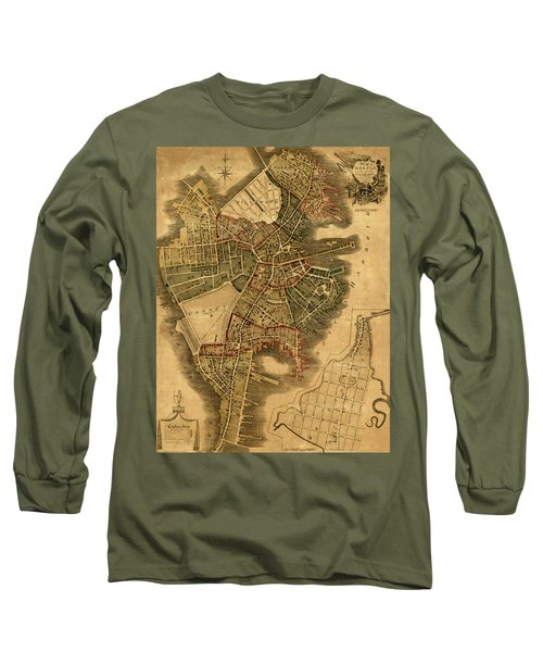 Map Of Boston 1814 Long Sleeve T-Shirt by Andrew Fare