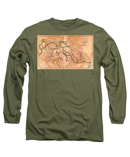 Map Of Caracas 1814 Long Sleeve T-Shirt by Andrew Fare