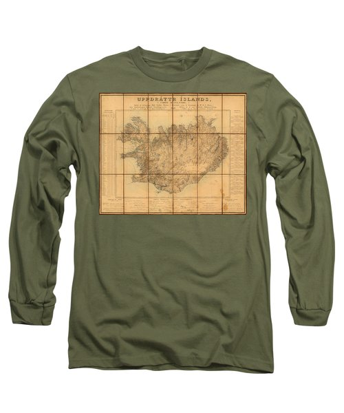 Map Of Iceland 1849 Long Sleeve T-Shirt by Andrew Fare