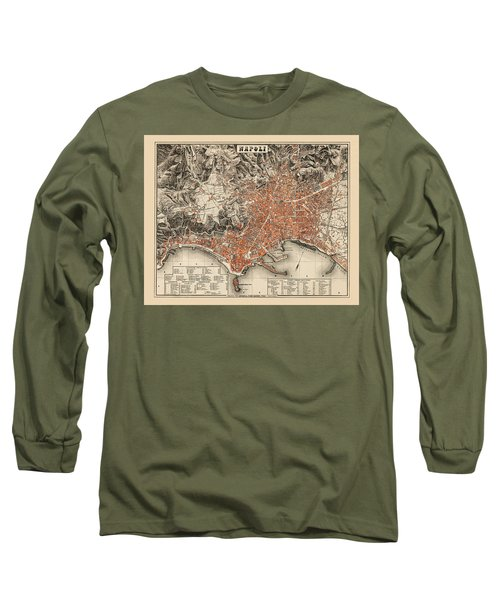 Map Of Naples 1860 Long Sleeve T-Shirt by Andrew Fare