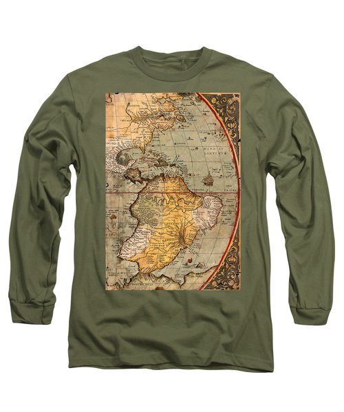 Map Of The Americas 1570 Long Sleeve T-Shirt by Andrew Fare