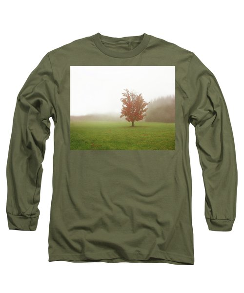 Long Sleeve T-Shirt featuring the photograph Maple Tree In Fog With Fall Colors  by Brooke T Ryan