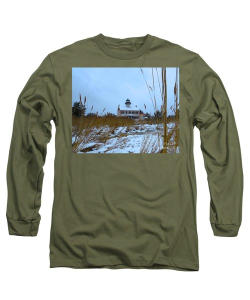 Long Sleeve T-Shirt featuring the photograph March Snow At East Point Lighthouse by Nancy Patterson