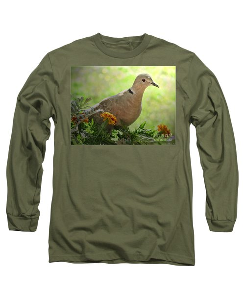 Long Sleeve T-Shirt featuring the photograph Marigold Dove by Debbie Portwood