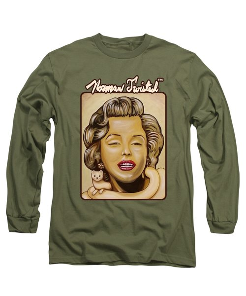 Marilyn In Gold Nt Long Sleeve T-Shirt by Norman Twisted