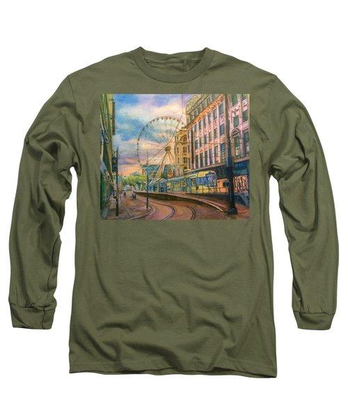 Market Street Metrolink Tramstop With The Manchester Wheel  Long Sleeve T-Shirt