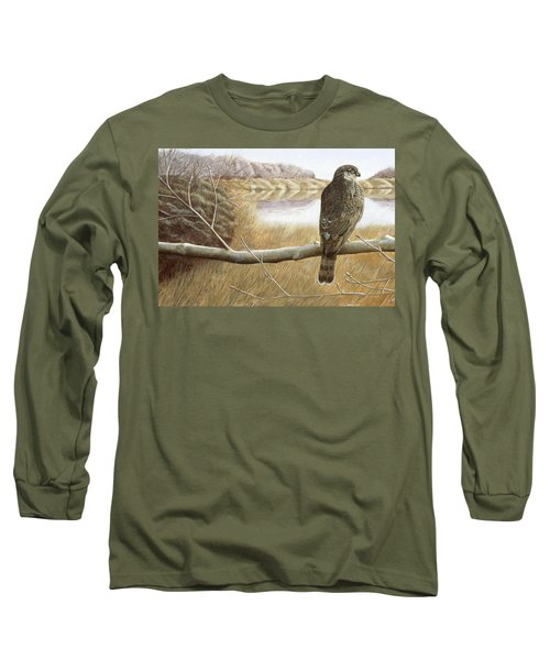 Long Sleeve T-Shirt featuring the painting Marsh Hawk by Laurie Stewart