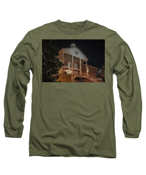 Long Sleeve T-Shirt featuring the photograph Martin Hall Night 01 by Gregory Daley  PPSA