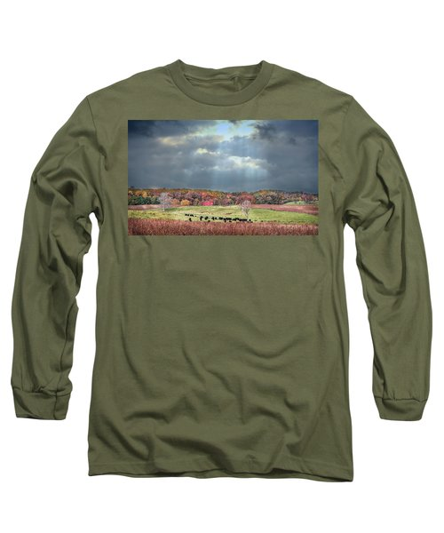 Maryland Farm With Autumn Colors And Approaching Storm Long Sleeve T-Shirt