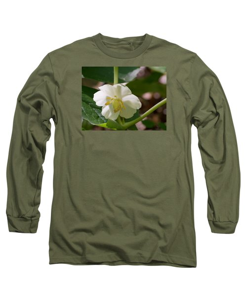 May-apple Blossom Long Sleeve T-Shirt by Linda Geiger