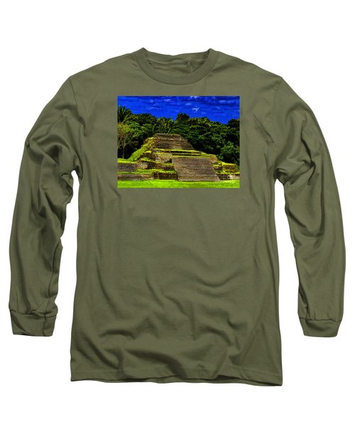 Mayan Temple Long Sleeve T-Shirt by Ken Frischkorn