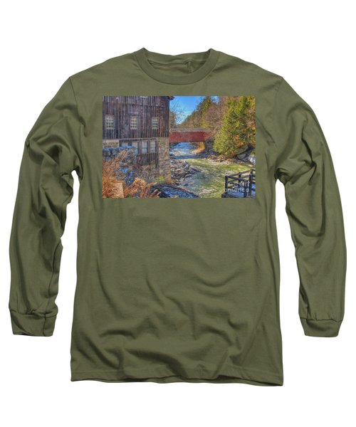 Long Sleeve T-Shirt featuring the digital art Mcconnells Mill Winter  by Randy Steele