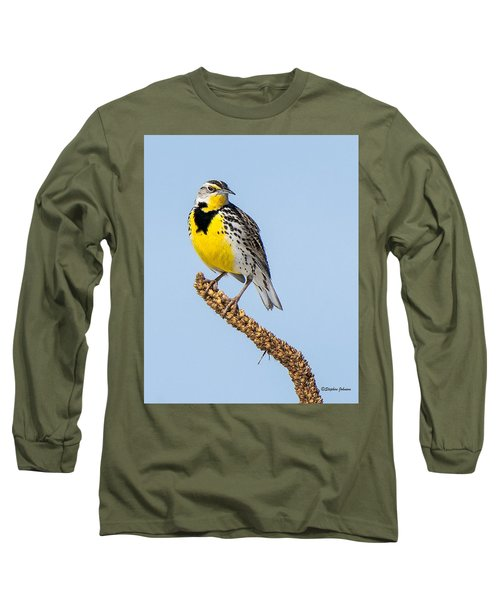 Meadowlark On Mullein Stalk Long Sleeve T-Shirt by Stephen Johnson