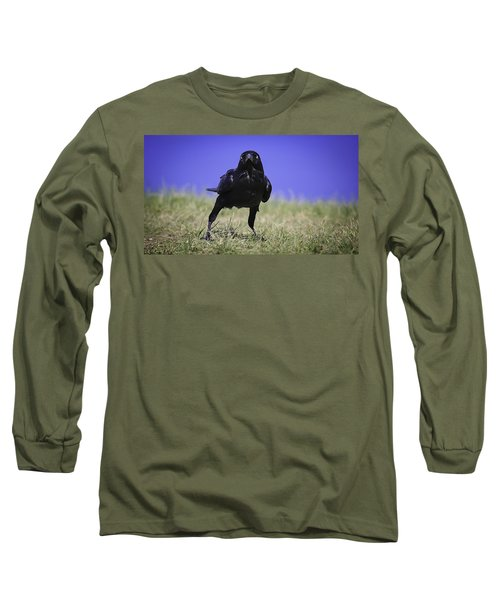 Long Sleeve T-Shirt featuring the photograph Menacing Crow by Chris Cousins