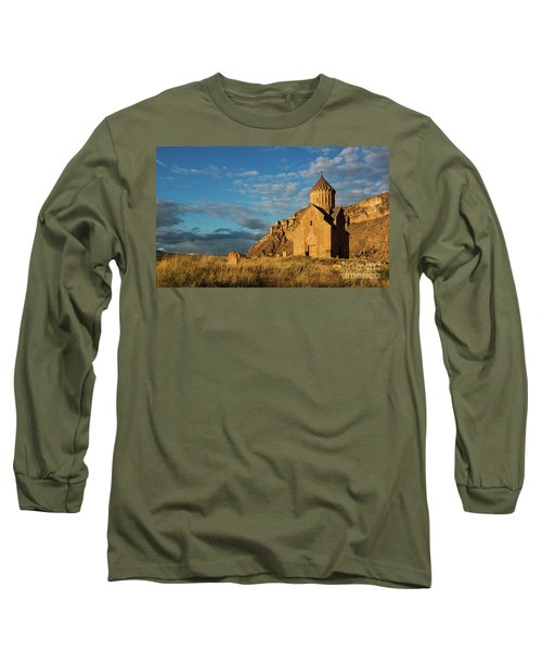 Medieval Areni Church Under Puffy Clouds, Armenia Long Sleeve T-Shirt