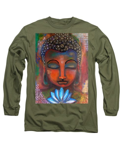Long Sleeve T-Shirt featuring the painting Meditating Buddha With A Blue Lotus by Prerna Poojara