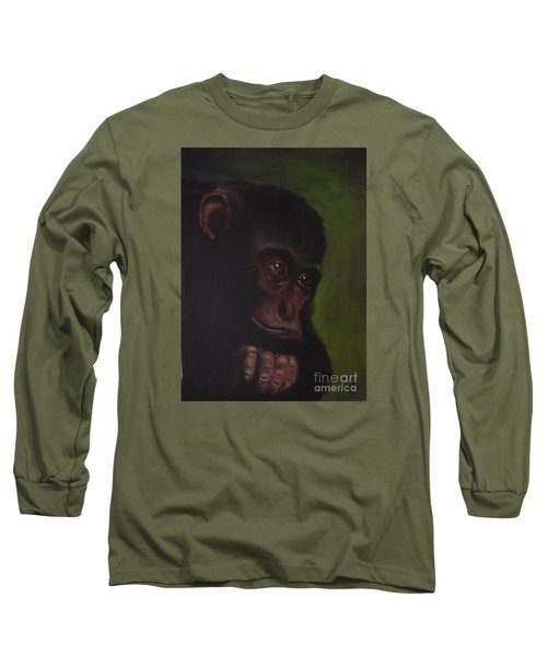 Long Sleeve T-Shirt featuring the painting Meditation by Annemeet Hasidi- van der Leij