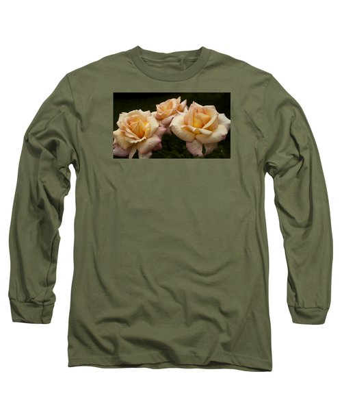 Medley Of Three Yellow Roses Long Sleeve T-Shirt by Barbara Middleton