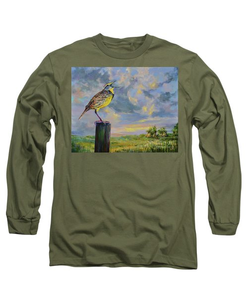 Long Sleeve T-Shirt featuring the painting Melancholy Song by AnnaJo Vahle