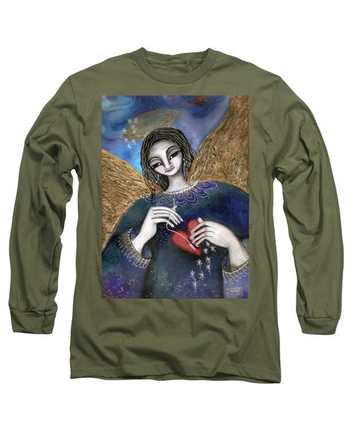Long Sleeve T-Shirt featuring the mixed media Mender Of Hearts Angel by Prerna Poojara