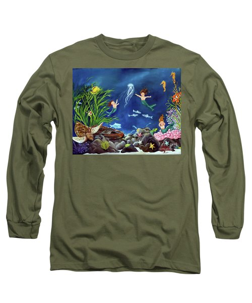 Long Sleeve T-Shirt featuring the painting Mermaid Recess by Carol Sweetwood