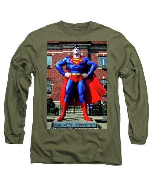 Metropolis - Home Of Superman 001 Long Sleeve T-Shirt by George Bostian