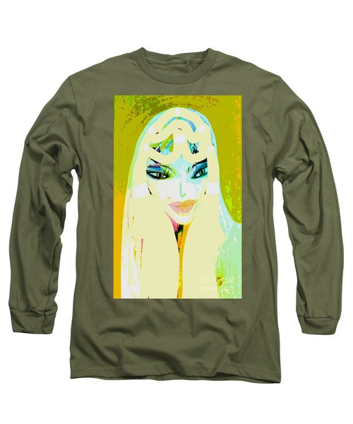 Long Sleeve T-Shirt featuring the mixed media Mia 2 by Ann Calvo