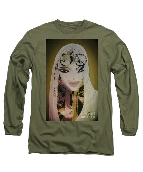 Long Sleeve T-Shirt featuring the mixed media Mia by Ann Calvo