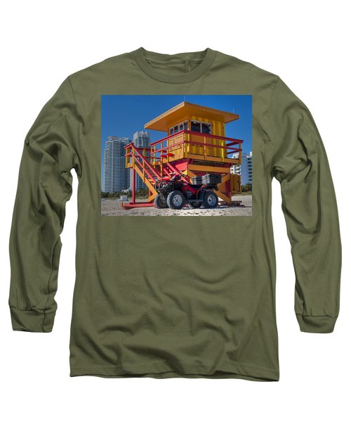 Miami Beach Lifeguard House Ocean Rescue Long Sleeve T-Shirt by Toby McGuire