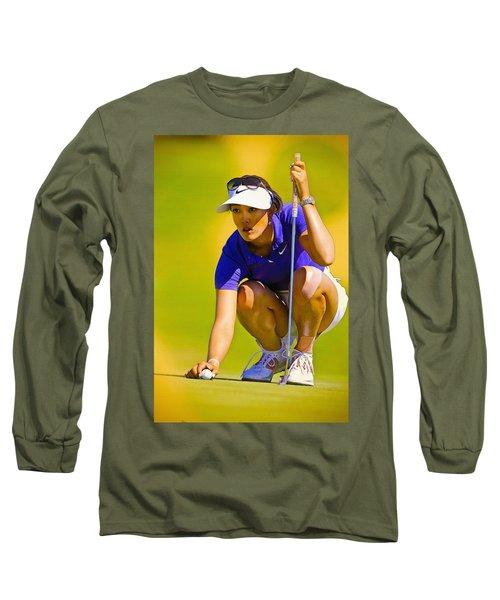 Michelle Wie Lines Up Her Putt  Long Sleeve T-Shirt