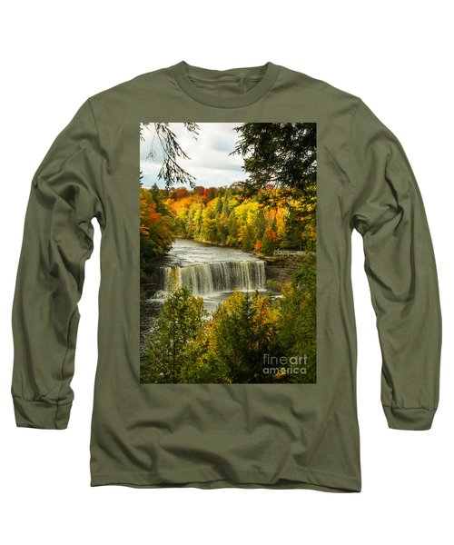 Michigan Waterfall Long Sleeve T-Shirt by Marilyn Carlyle Greiner