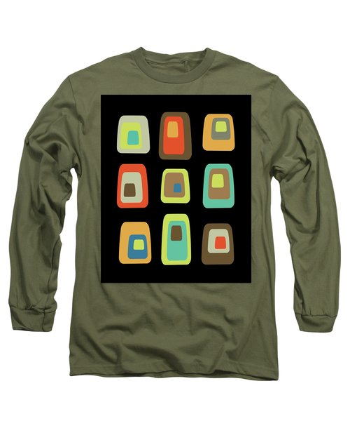 Mid Century Modern Oblongs On Black Long Sleeve T-Shirt