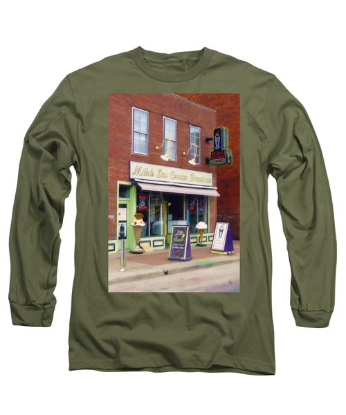 Mike's Ice Cream Fountain Long Sleeve T-Shirt by Sandy MacGowan
