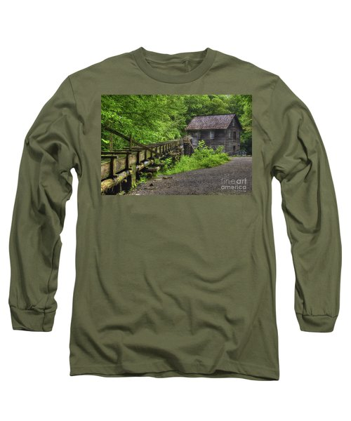 Long Sleeve T-Shirt featuring the photograph Mingus Mill 2 Mingus Creek Great Smoky Mountains Art by Reid Callaway