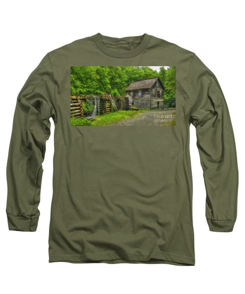 Long Sleeve T-Shirt featuring the photograph Mingus Mill 3 Mingus Creek Great Smoky Mountains Art by Reid Callaway