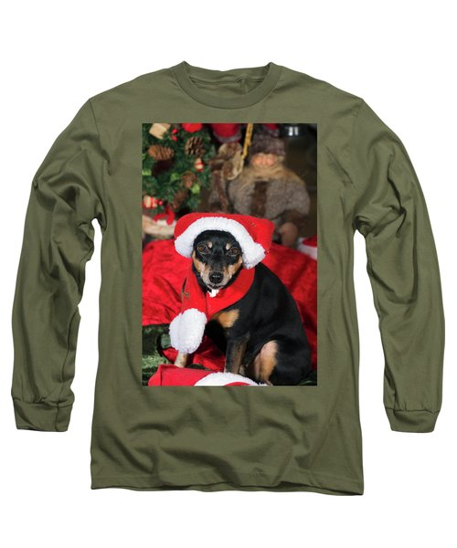 Miniature Pinscher Wishing A Merry Christmas Long Sleeve T-Shirt