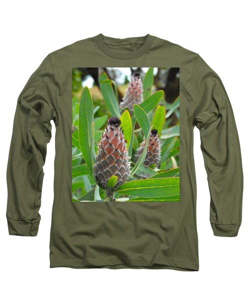 Mink Protea Flower Long Sleeve T-Shirt by Rebecca Margraf