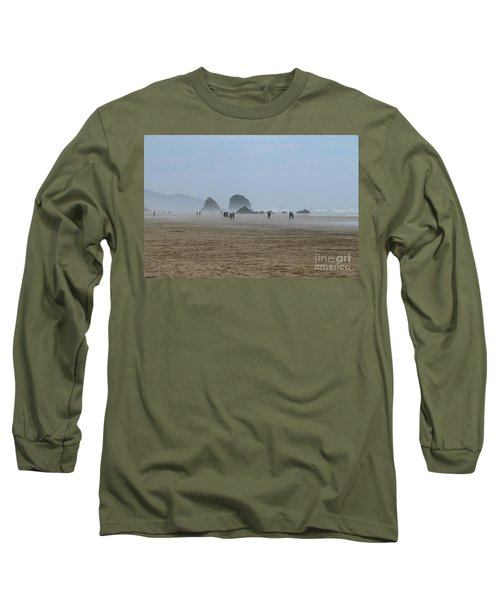 Misty Morning At Cannon Beach Long Sleeve T-Shirt by Christiane Schulze Art And Photography