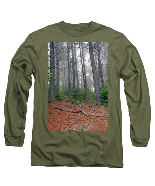 Misty Morning In An Algonquin Forest Long Sleeve T-Shirt